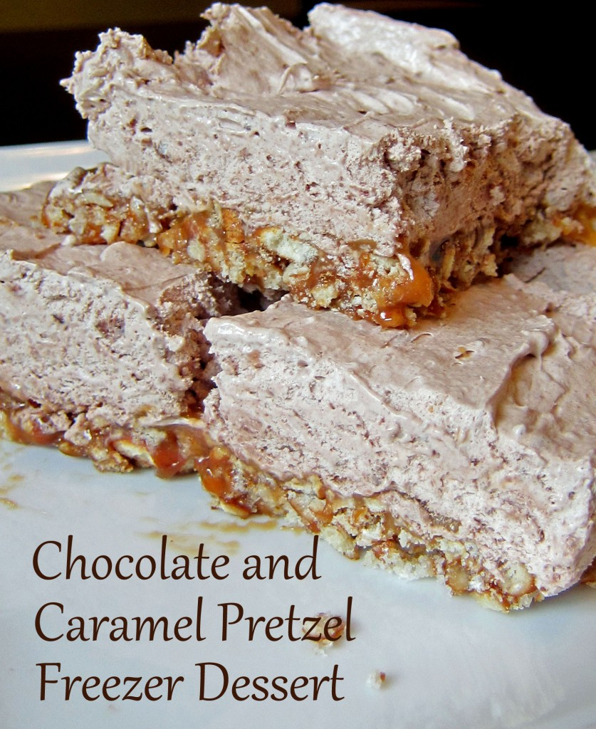 Frozen chocolate cream filling on a caramel and pretzel crust. Perfect ...