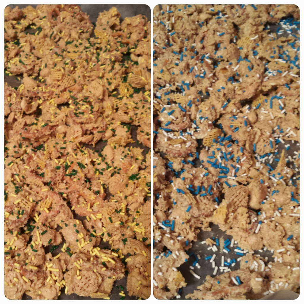 Sweet and Salty Party Mix--cereal, pretzels, and peanuts are coated with white chocolate and peanut butter to make a sweet party mix.